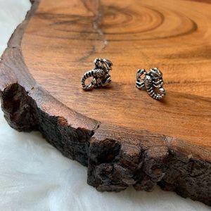 Silver Scorpion Studs Post Zodiac Earrings